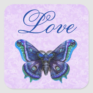 Purple Vintage Butterfly Love Wedding Square Sticker