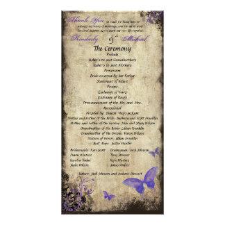 Purple Vintage Butterfly Wedding Program Photocard Card