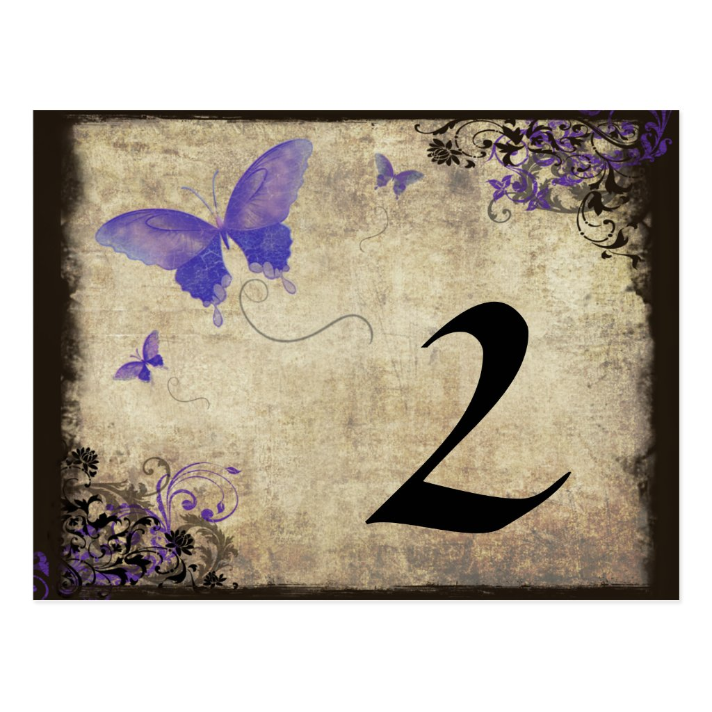 Purple Vintage Butterfly Wedding Table Number 8 postcards.