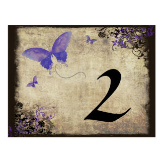 Purple Vintage Butterfly Wedding Table Number Postcard