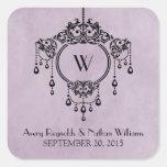 Purple Vintage Chandelier Wedding Stickers