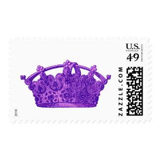 Purple Vintage Crown A002 Postage Stamp
