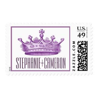Purple Vintage Crown Wedding Bride Groom V2 Postage Stamp