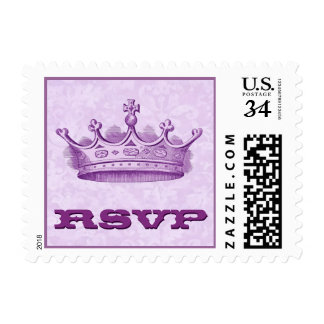 Purple Vintage Crown Wedding RSVP V2 Postage Stamp