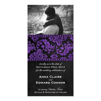 Purple Vintage Damask Lace Save the Date Photo Card
