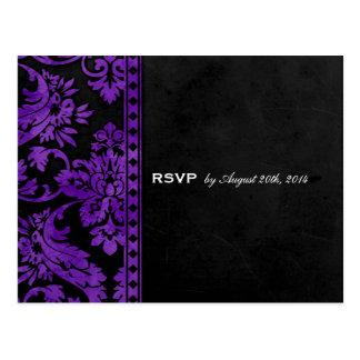 Purple Vintage Damask Lace Wedding RSVP Post Card