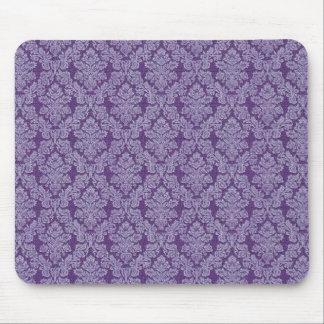 Purple vintage damask ornament textile pattern mouse pad