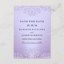Purple Vintage Damask Wedding Save The Date