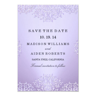 Purple Vintage Damask Wedding Save The Date Card