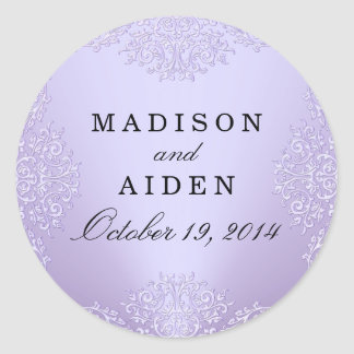 Purple Vintage Damask Wedding Sticker