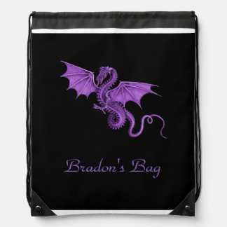 Purple Vintage Dragon Black Drawstring Backpack