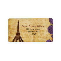 purple vintage eiffel tower Paris address labels