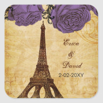 purple vintage eiffel tower Paris envelopes seals