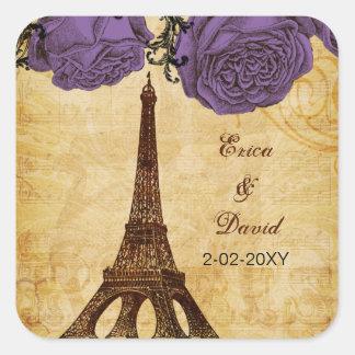purple vintage eiffel tower Paris envelopes seals Square Sticker