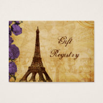 purple vintage eiffel tower Paris Gift registry Business Card