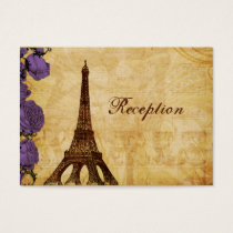 purple vintage eiffel tower Paris Reception cards