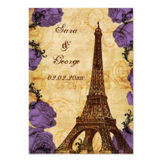 purple vintage eiffel tower Paris save the date Card