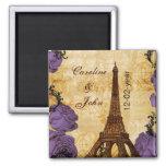purple vintage eiffel tower Paris save the date 2 Inch Square Magnet