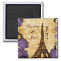 purple vintage eiffel tower Paris save the date Magnet