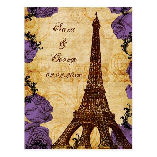 purple vintage eiffel tower Paris save the date Post Card
