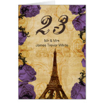 purple vintage eiffel tower Paris Table Numbers