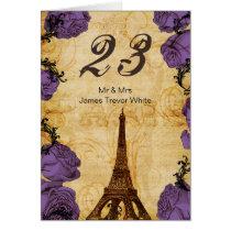 purple vintage eiffel tower Paris Table Numbers Card