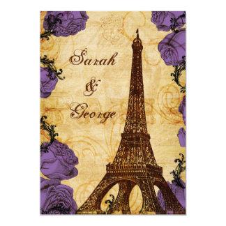 purple vintage eiffel tower Paris thank you Card