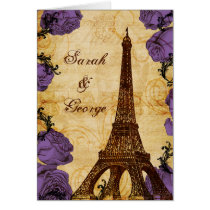 purple vintage eiffel tower Paris thank you Card