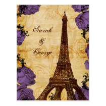 purple vintage eiffel tower Paris thank you Postcard