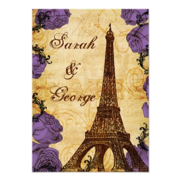 purple vintage eiffel tower Paris wedding invite