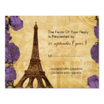 purple vintage eiffel tower Paris wedding rsvp Card