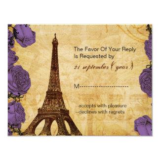 purple vintage eiffel tower Paris wedding rsvp Card