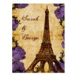 purple vintage eiffel tower Paris wedding rsvp Postcards
