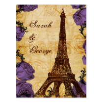 purple vintage eiffel tower Paris wedding rsvp Postcard