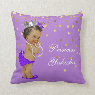 Purple Vintage Ethnic Princess Baby Gold Confetti Throw Pillow