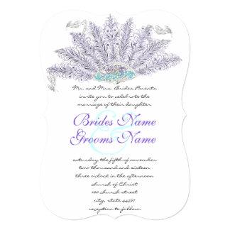 Purple Vintage Feather Fan Wedding Invitation