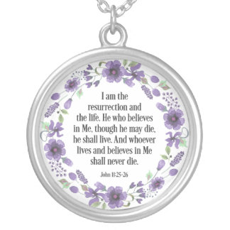 Purple Vintage Floral Bible Life Quote Necklace