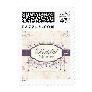 Purple vintage floral bridal shower postage stamps