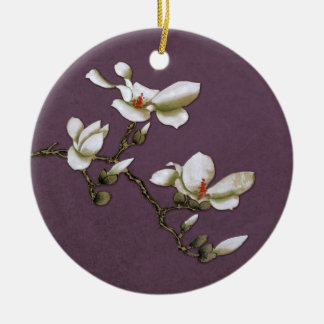 Purple Vintage Floral Magnolia Ceramic Ornament