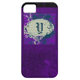 Purple vintage floral pattern and Monogram Y iPhone SE/5/5s Case