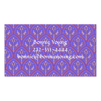 Purple Vintage Floral Pattern Double-Sided Standard Business Cards (Pack Of 100)