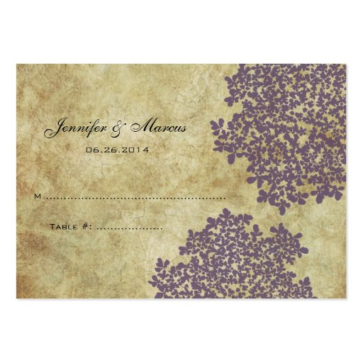 Purple Vintage Floral Seating Card Business Card Templates