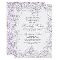 Purple Vintage Floral Spring Wedding Bridal Shower Card
