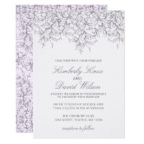 Purple Vintage Floral Spring Wedding Card
