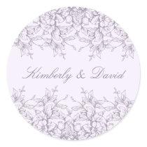 Purple Vintage Floral Spring Wedding Classic Round Sticker