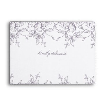 Purple Vintage Floral Spring Wedding Envelope