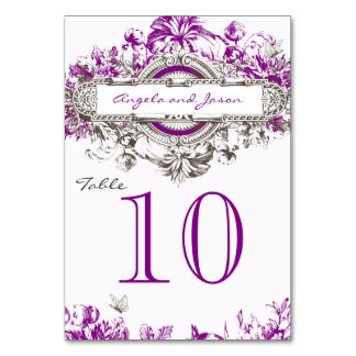 Purple Vintage Floral Wedding Table Number Card Table Cards