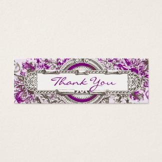Purple Vintage Floral Wedding Thank You Tag
