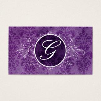 Purple Vintage Flourish Monogram Profile Card
