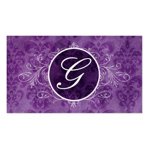 Purple Vintage Flourish Monogram Profile Card Business Card Templates